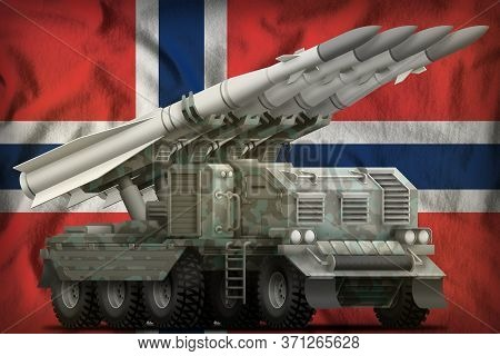 Tactical Short Range Ballistic Missile With Arctic Camouflage On The Norway Flag Background. 3d Illu
