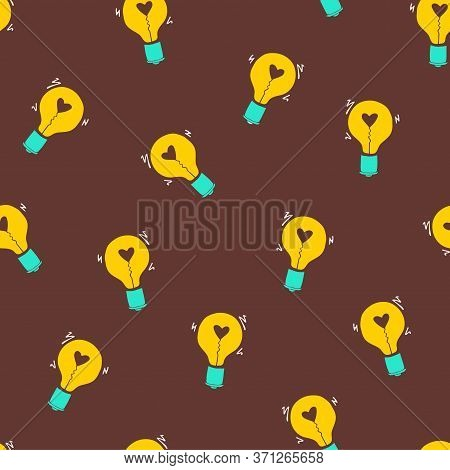 Light Bulb With Heart Seamless Vector Pattern. Hand Drawn Doodle Background With Bulbs. Creative Inv