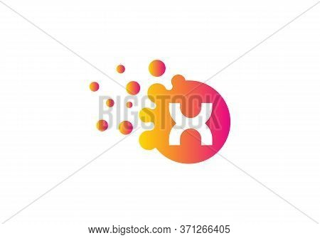 Letter X Bubbles Logo Template. Vector Brand Name Design. Dots Letter X Logo. X Letter Design Vector