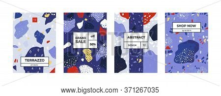 Terrazzo Posters. Geometry Stone Texture On Invitations, Greeting Cards And Flyers, Modern Concrete