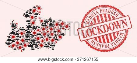 Vector Mosaic Madhya Pradesh State Map Of Covid-2019 Virus, Masked People And Red Grunge Lockdown Se