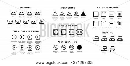Laundry Care Icons. Machine And Hand Wash Advice Symbols, Fabric Cotton Cloth Type For Garment Label