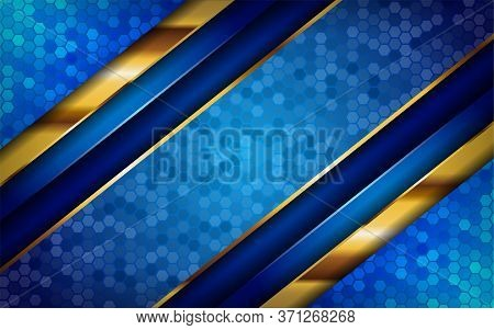 Luxurious Premium Blue Abstract Background With Golden Lines. Overlap Textured Layer Design. Realist