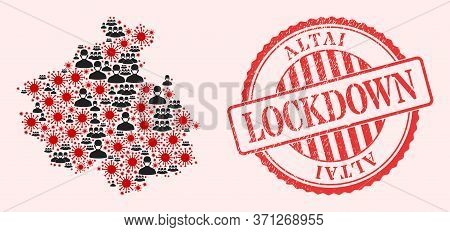 Vector Collage Altai Republic Map Of Corona Virus, Masked People And Red Grunge Lockdown Stamp. Viru