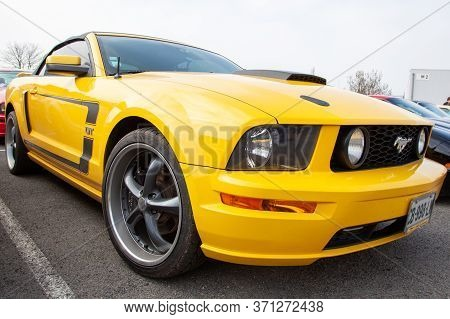 Bordeaux , Aquitaine / France - 06 10 2020 : Ford Mustang Boss 302 Gt Yellow Car Convertible Front V