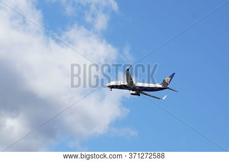 Bordeaux , Aquitaine / France - 10 16 2019 : Airliner Of Ryanair Plane Low-cost Carrier In Europe