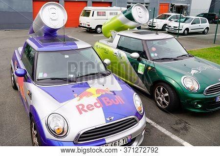 Bordeaux , Aquitaine / France - 10 17 2019 : Redbull Organics Green Advertisement Car Energy Drink I