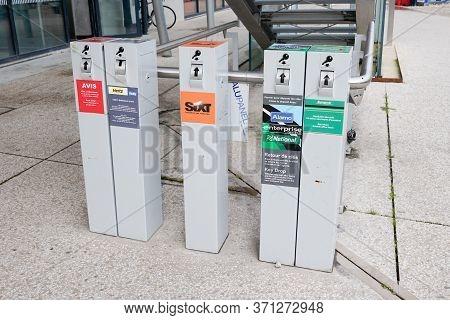 Bordeaux , Aquitaine / France - 10 17 2019 : Car Rental Key Return Box In Station Return Rent