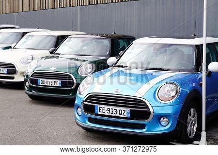 Bordeaux , Aquitaine / France - 10 17 2019 : Mini Car Are Parked Outside A Mini Cooper Dealership