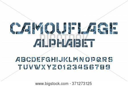 Camouflage Alphabet Font. Stencil Letters And Numbers On A White Background. Vector Typescript For Y
