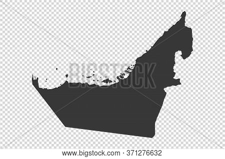 United Arab Emirates Map With Gray Tone On   Png Or Transparent  Background,illustration,textured ,