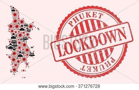 Vector Collage Phuket Map Of Sars Virus, Masked People And Red Grunge Lockdown Seal Stamp. Virus Ite