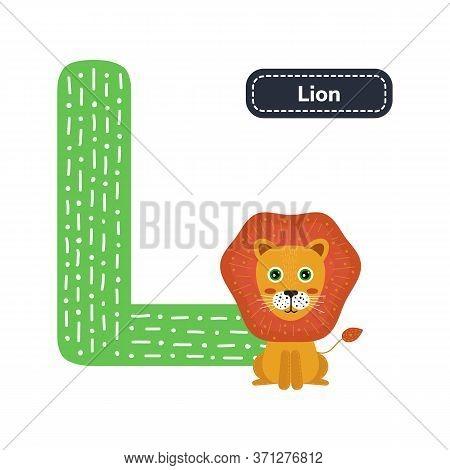 Kids Alphabet. Letter L. Cute Cartoon Lion.