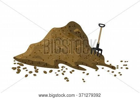 Pile of soil isolated on white background. Hayfork in a pile of substrate. Heap of ground, humus, fertilizer, compost. Hill of earth or dirt. Bunch of manure, organic garbage. Illustration of landscape, nature, farming. Zero waste. Stock vector