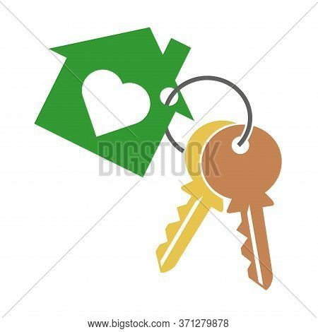 House With Heart, Two Key And Key Ring. Keychain Symbol, Icon Silhouette On White Background