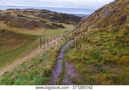 Landscape View From Arthur Seat Hill, Edinburgh, Scotland.