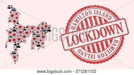 Vector Collage Hamilton Island Map Of Coronavirus, Masked Men And Red Grunge Lockdown Seal. Virus El
