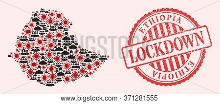 Vector Mosaic Ethiopia Map Of Flu Virus, Masked Men And Red Grunge Lockdown Stamp. Virus Particles A