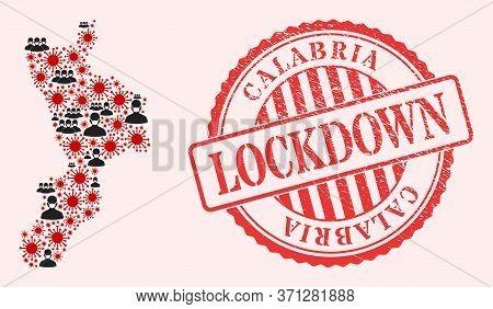 Vector Mosaic Calabria Region Map Of Flu Virus, Masked Men And Red Grunge Lockdown Stamp. Virus Item