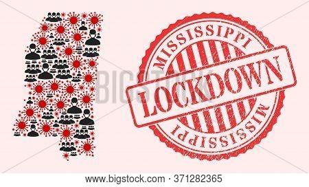 Vector Mosaic Mississippi State Map Of Sars Virus, Masked Men And Red Grunge Lockdown Stamp. Virus P