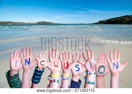 Children Hands Building Word Inclusion, Ocean Background