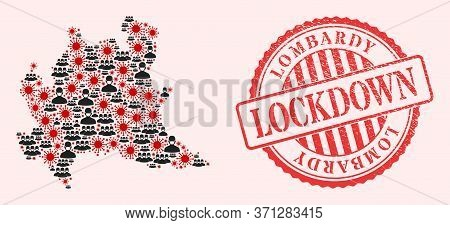 Vector Mosaic Lombardy Region Map Of Covid-2019 Virus, Masked People And Red Grunge Lockdown Seal. V