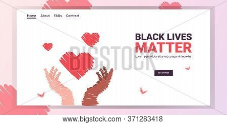 Black Lives Matter Heart In Multiracial Hands Awareness Campaign Against Racial Discrimination Of Da