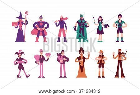Twelve Archetypes Flat Color Vector Characters Set. Magician And Hero In Cape. Medieval King And Wis