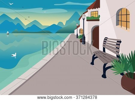 Seaside Resort Town Flat Color Vector Illustration. Waterfront Street With Mediterranean Houses And