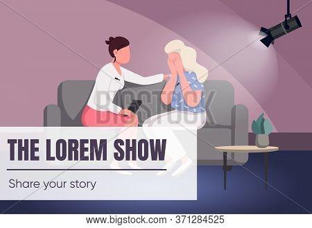 Talk Show Banner Flat Vector Template. Tv Program Brochure, Poster Concept Design With Cartoon Chara