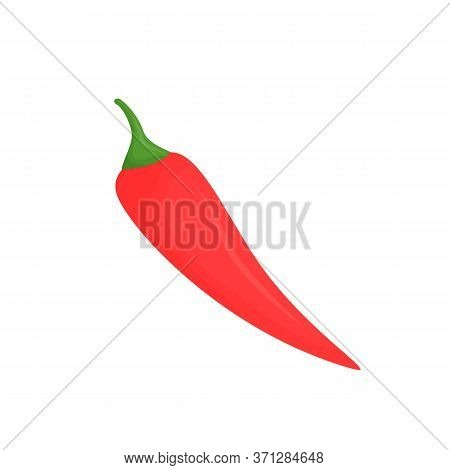 Red Hot Pepper Pod Cartoon Vector Illustration. Raw Vegetable Flat Color Object. Food Containing Vit