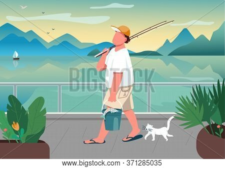 Man Fishing Rod At Waterfront Area Flat Color Vector Illustration. Male Fisher With Cat. Summer Time