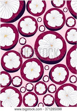 Sliced Mangosteen Fruit, Mangosteen Pattern, Birthday Card