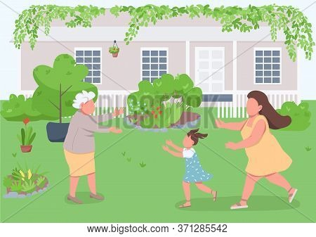 Visit Grandmother Flat Color Vector Illustration. Relatives Reunion With Granny. Grandma Welcome Dau