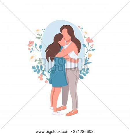 Mother And Daughter Flat Concept Vector Illustration. Parent Embrace Teenage Kid. Motherhood, Parent