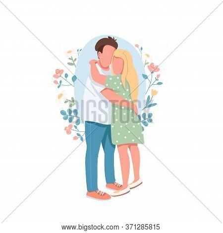 Happy Couple Flat Concept Vector Illustration. Romantic Relationship. Boyfriend Embrace Girlfriend.