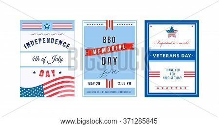 Us Holiday Poster Flat Vector Templates Set. American Independence Day. Brochure, Booklet Pages Conc