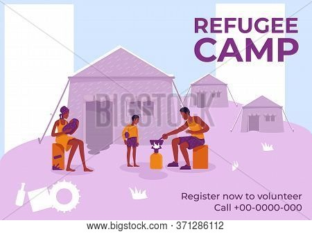 Refugee Camp Poster Flat Vector Template. Illegal War Migrants. Brochure, Booklet One Page Concept D