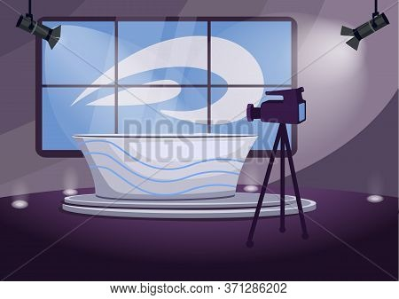 News Program Shooting Stage Flat Color Vector Illustration. Television Channel, Telecasting Room 2d
