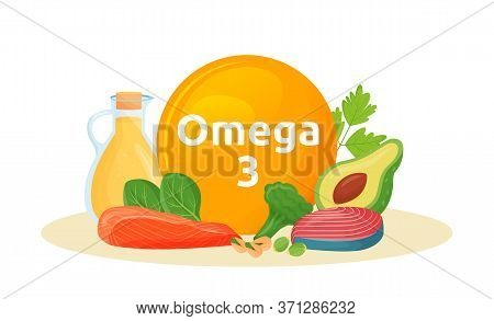 Products Reach Of Omega 3 Cartoon Vector Illustration. Polyunsaturated Fatty Acids In Fish, Avocado,