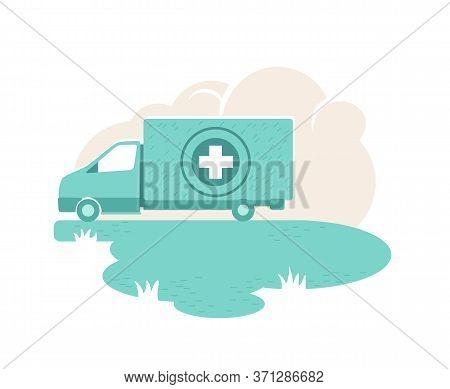Humanitarian Aid Van 2d Vector Web Banner, Poster. Hospital Car. Medications Donation Flat Illustrat