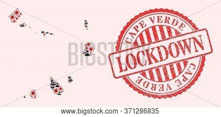 Vector Collage Cape Verde Islands Map Of Flu Virus, Masked Men And Red Grunge Lockdown Stamp. Virus