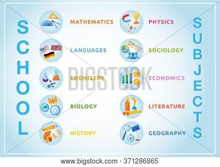 School Subjects Flat Color Vector Objects Set. Natural And Formal Science Circle Icons. Foreign Lang
