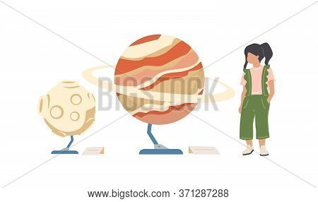 Child In Planetarium Flat Color Vector Faceless Character. Kid Look At Planet Exhibits. Learn About