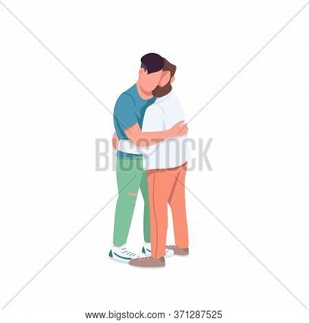 Men Hugging Flat Color Vector Faceless Characters. Gay Couple In Romantic Relationship. Man Embrace