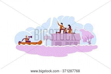 Flood Rescue 2d Vector Web Banner, Poster. Safeguard Service. Rescuer In Boat Saving Family Characte