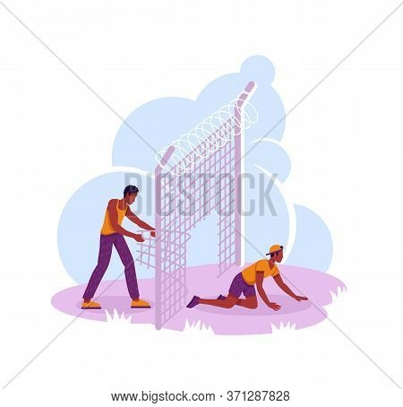 Refugees Crossing Country Board 2d Vector Web Banner, Poster. Migrants Excape Flat Characters On Car
