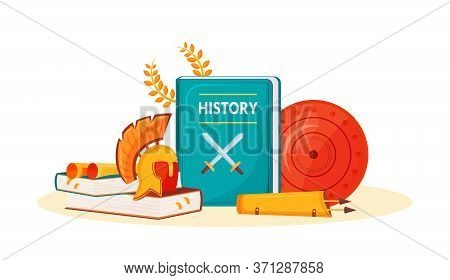 History Flat Concept Vector Illustration. School Subject. Historical Book. Humanities Science Metaph