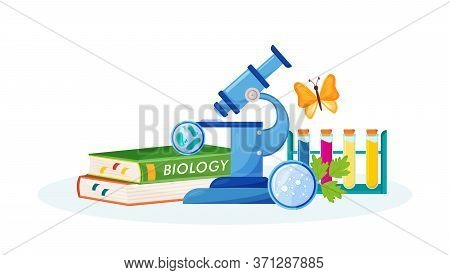 Biology Flat Concept Vector Illustration. School Subject. Lab Analysis. Natural Science Metaphor. Pr