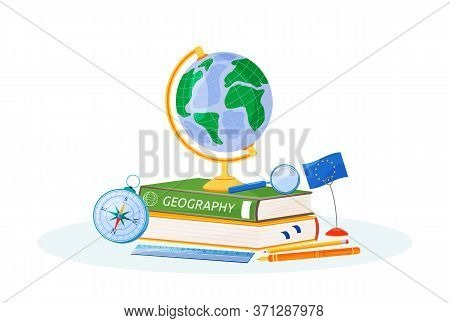 Geography Flat Concept Vector Illustration. School Subject. Natural Science Learning Metaphor. Study